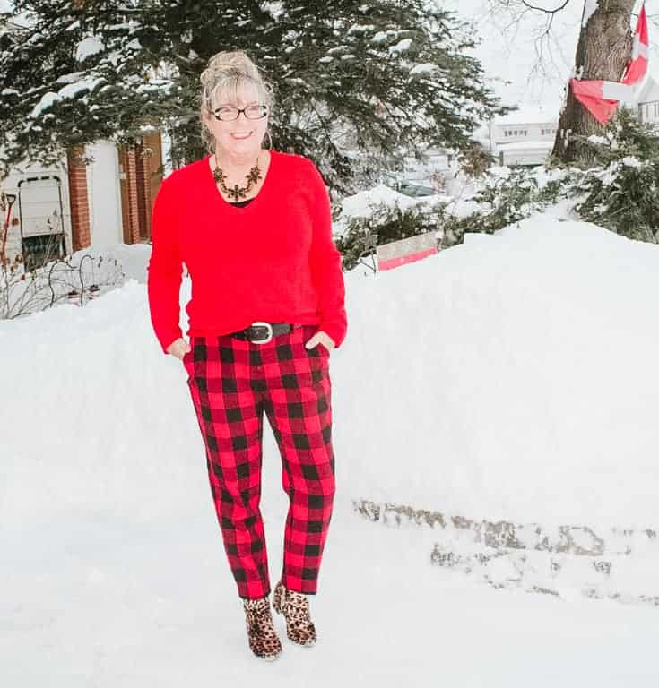 red check harper pants