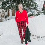red check pants and snow