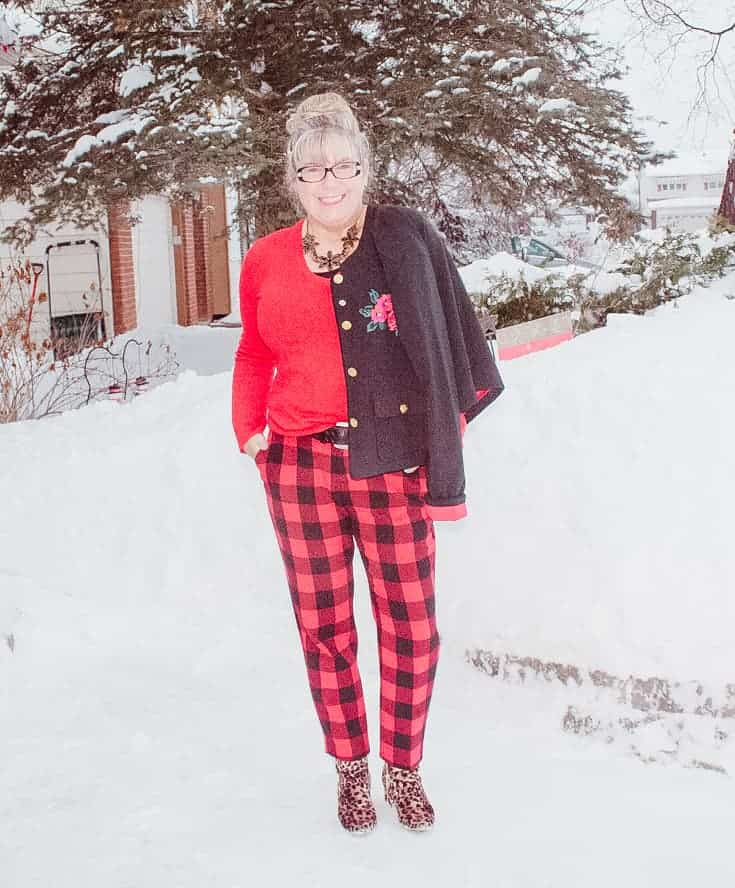 red check pants and snowy days