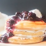 pancake stack with bourbon blueberry compote