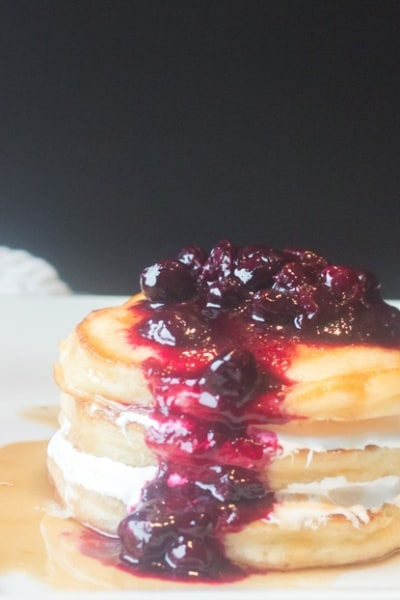 Marshmallow Pancake Stack with Blueberry Compote