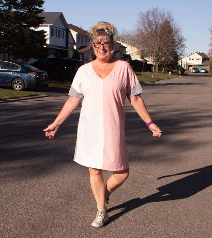 pink cream and grey tee dress 3