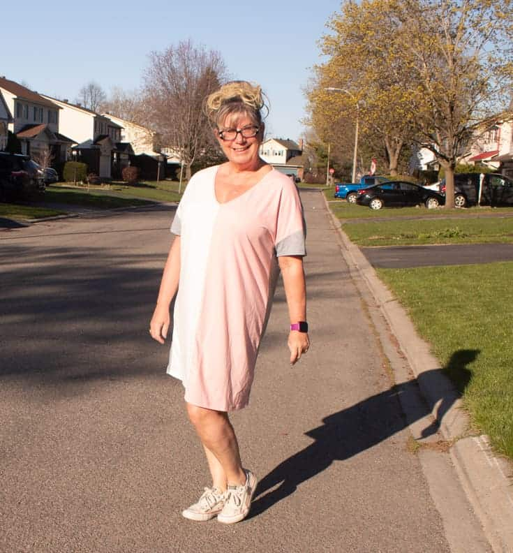 pink cream and grey tee dress2