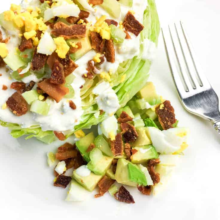 wedge salad with a fork
