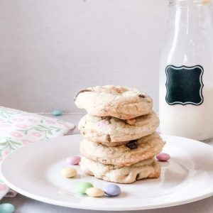chewy chocolate chip cookies with eggies on a plate