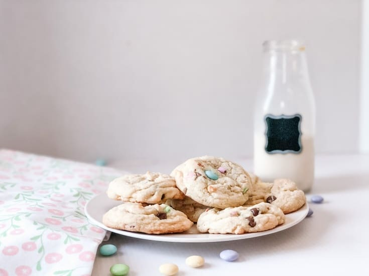 milk and cookies on a plate