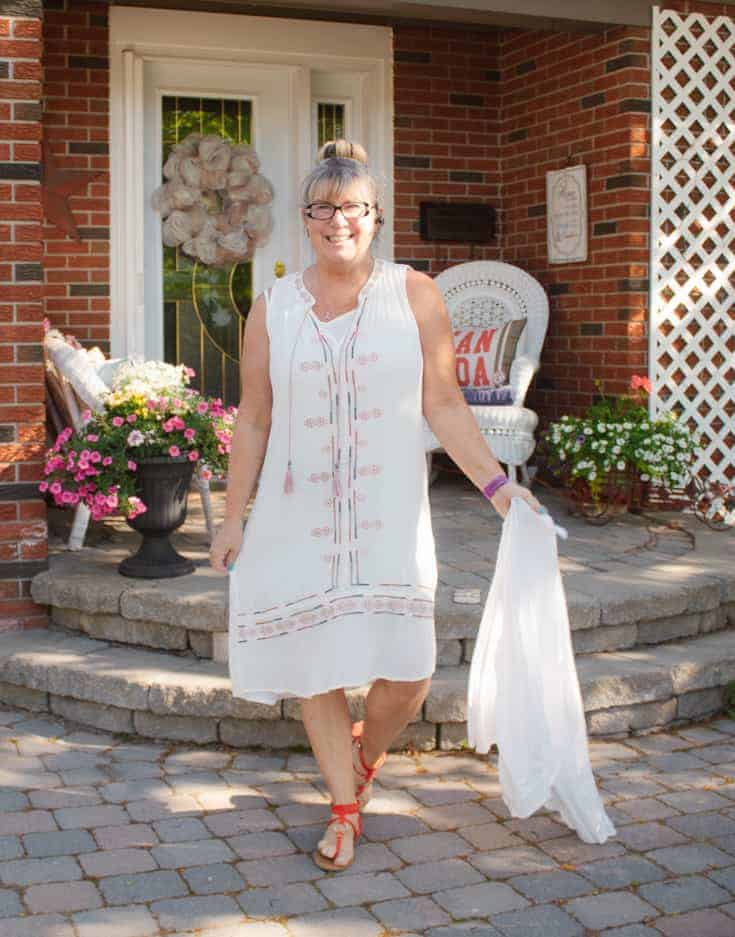 Target white dress and sandals for spring