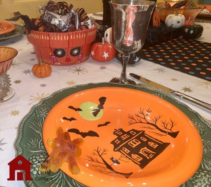 orange halloween plate on a fun table