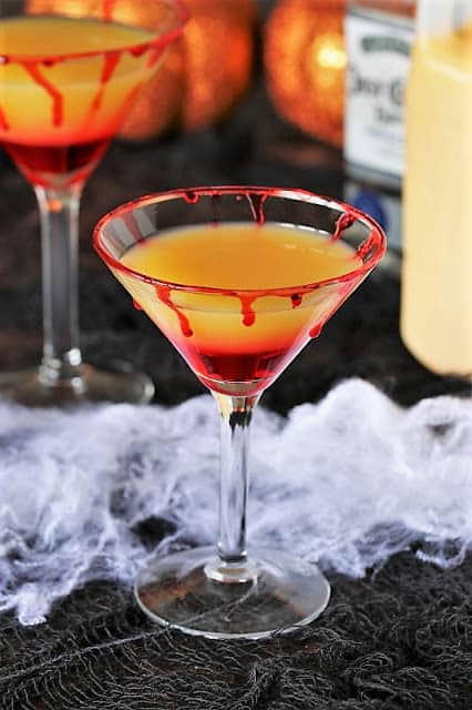 Bloody-Sunrise cocktail in a martini glass