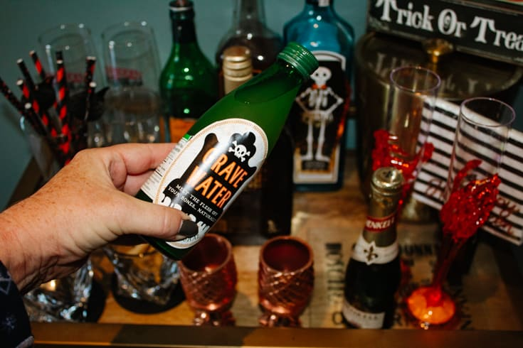Halloween spirits on the bar cart