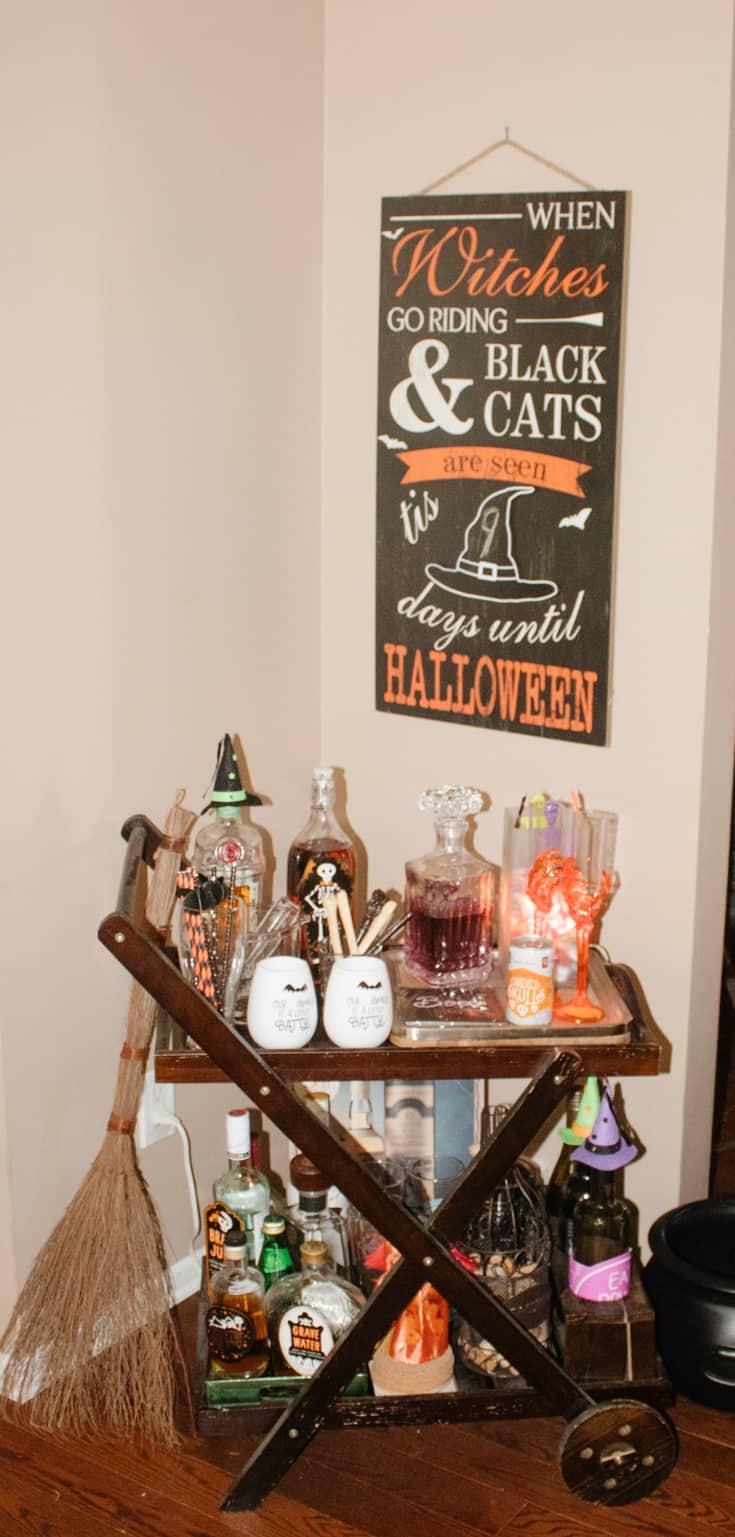 halloween decor for the barcart