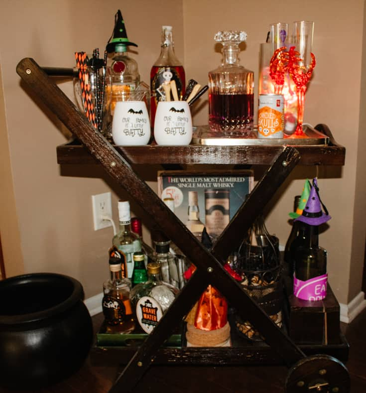 wooden cart decked out for Halloween