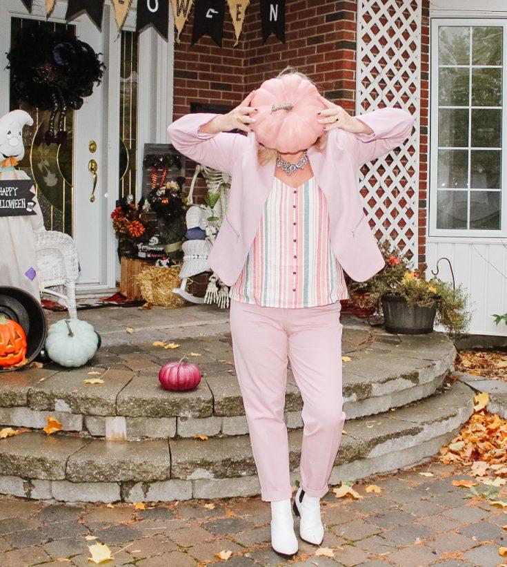 pink pumpkin face