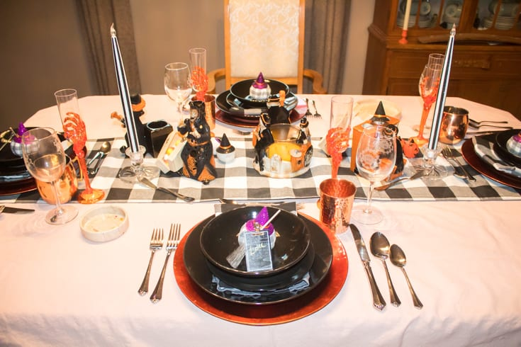 black dishes on halloween table