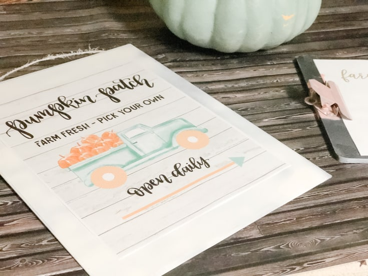 pumpkin patch sign with aqua truck