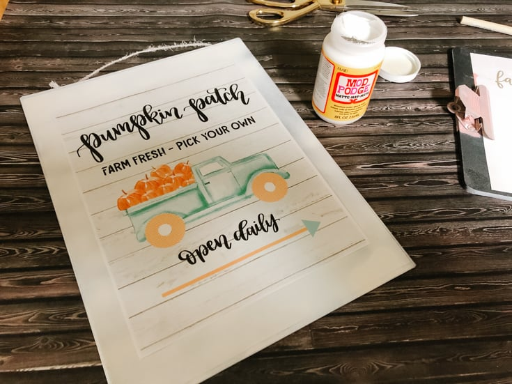 mod podge pumpkin patch sign with aqua truck