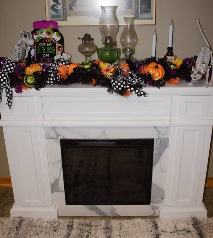 fireplace with an animal skeleton collection
