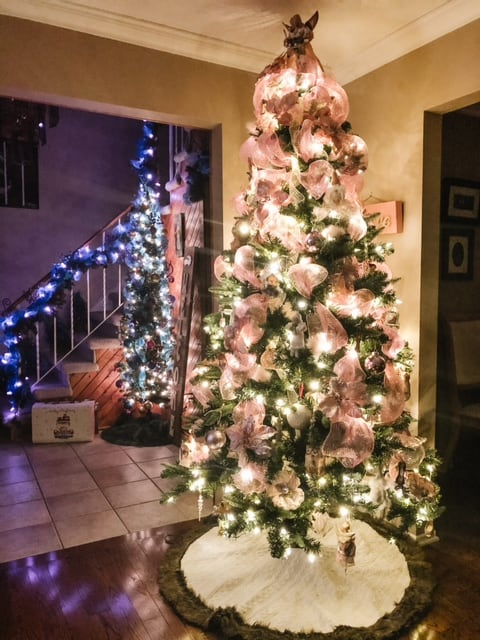 living room tree in pink