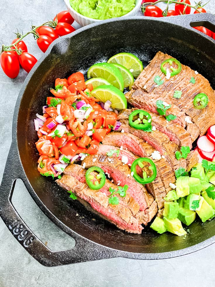 carne asada made in a skillet