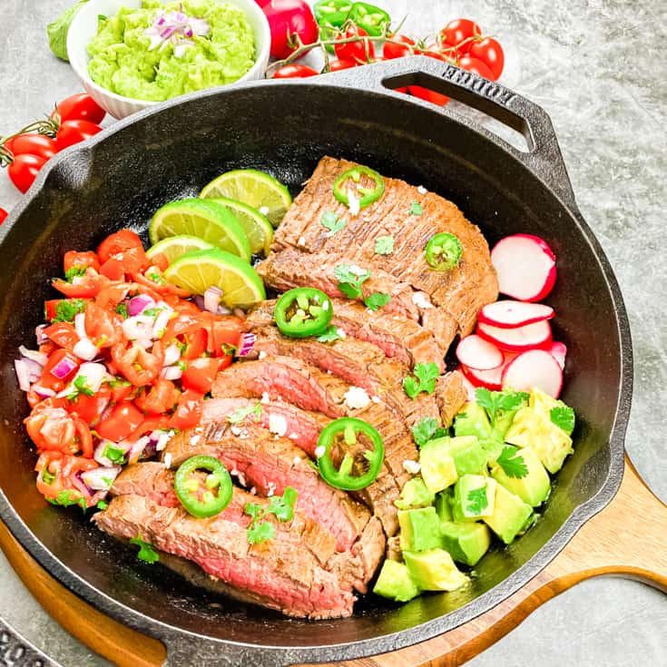 carne asada in a skillet