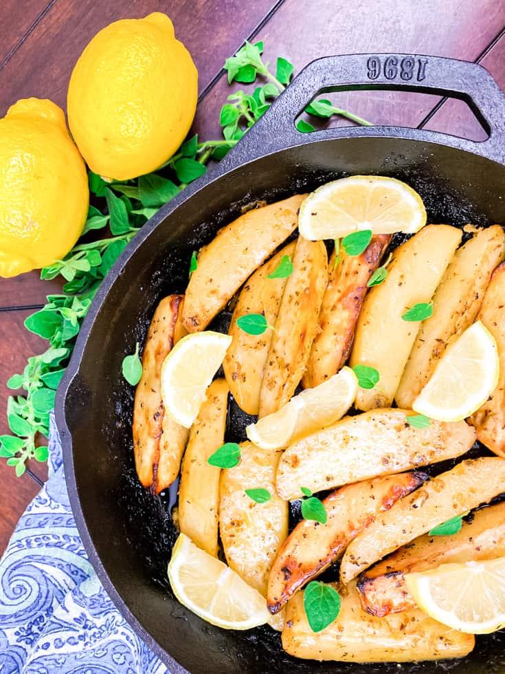 cast iron pan with potatoes