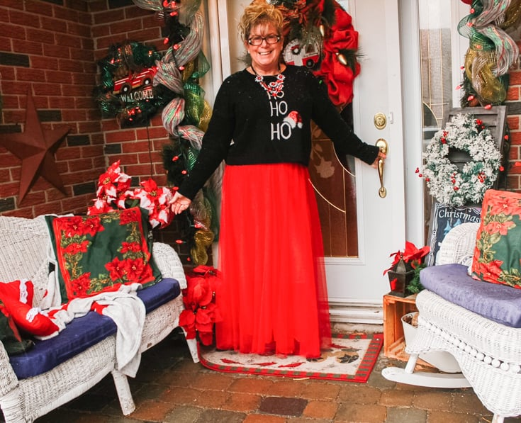 christmas tulle skirt on the porch