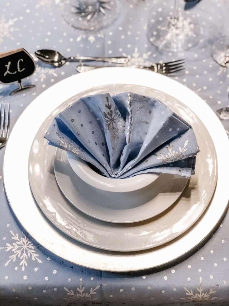 blue fan fold napkin