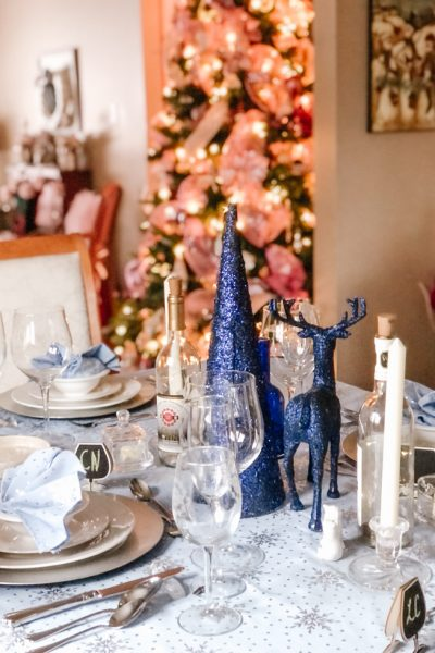 Blue and Silver Winter Table for NYE 2020