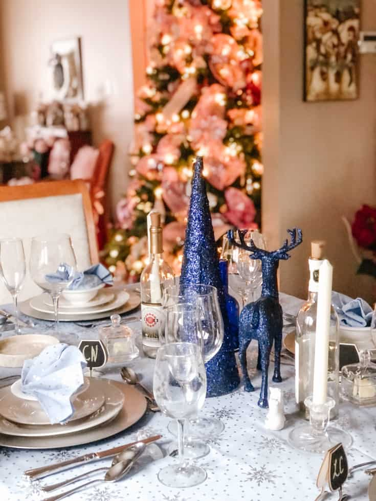 blue and silver tablescape