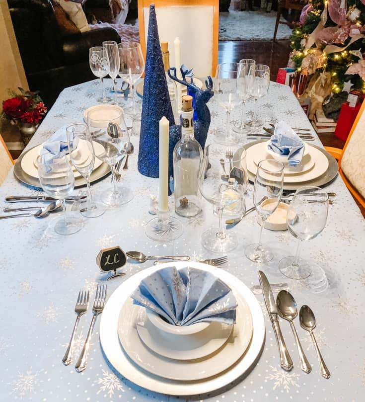 winter tablescape in blue and silver