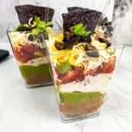 trio of 7 layer dip cups
