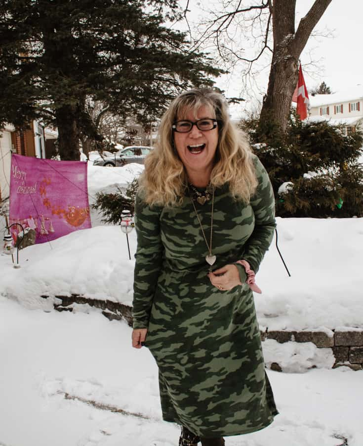 fun in the snow in camo