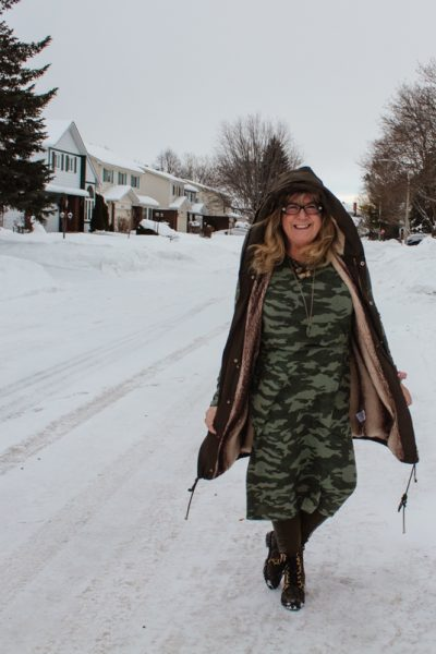 Old Navy Camo Dress and Winter Style