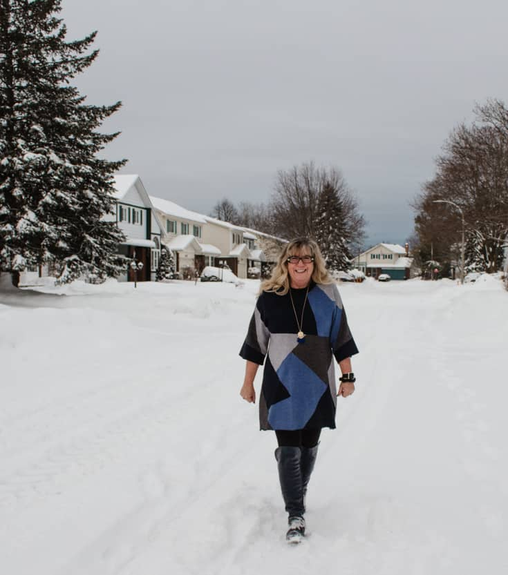 walking in the snow in eva trends and shoe dazzle