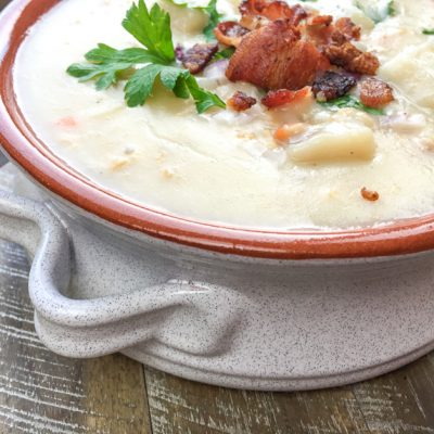 homemade clam chowder in a bowl