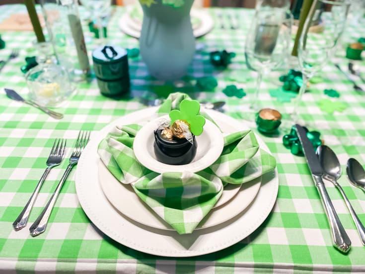 clover napkin on plaid table