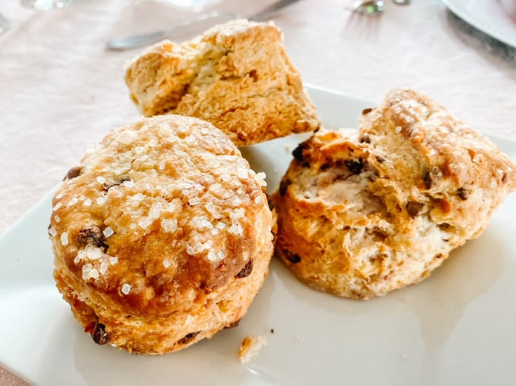 three scones on a plate