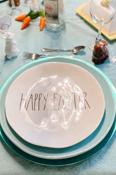 Aqua Easter Table with Bunnies