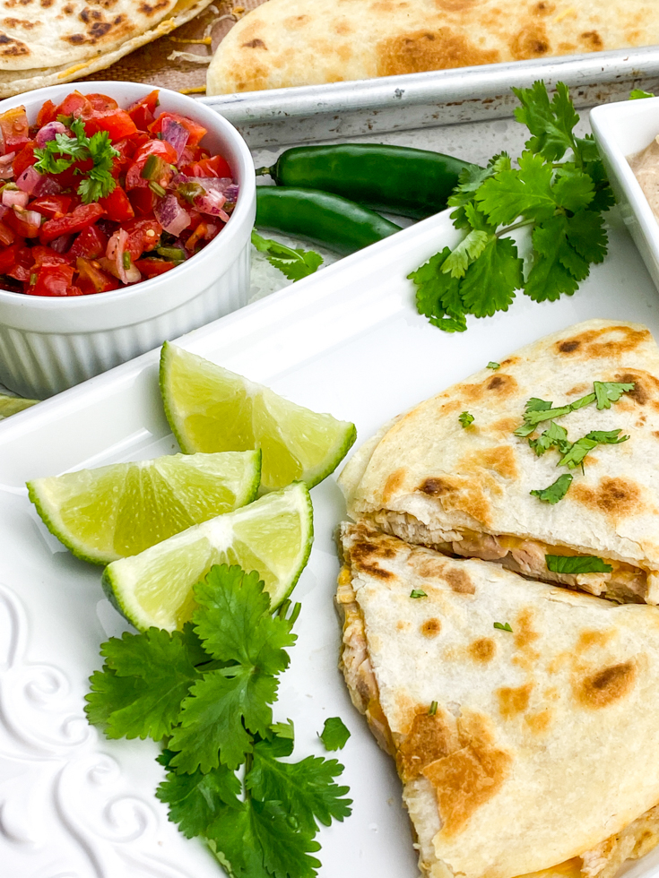 plate with chicken quesadilla