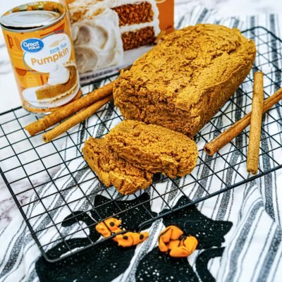 simple pumpkin spice bread on a cooling rack