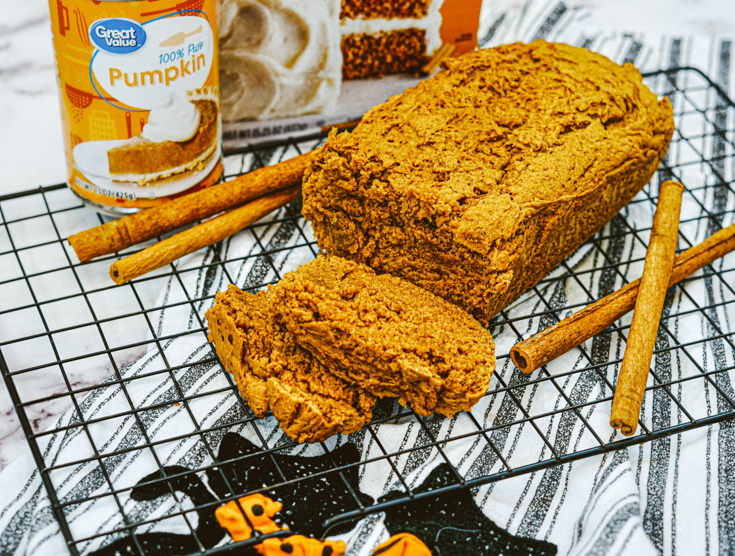 loaf of pumpkin bread cut up.