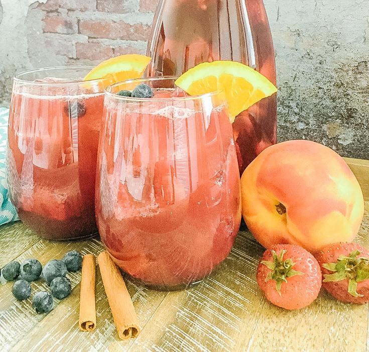 sparkling peach sangria in a glass
