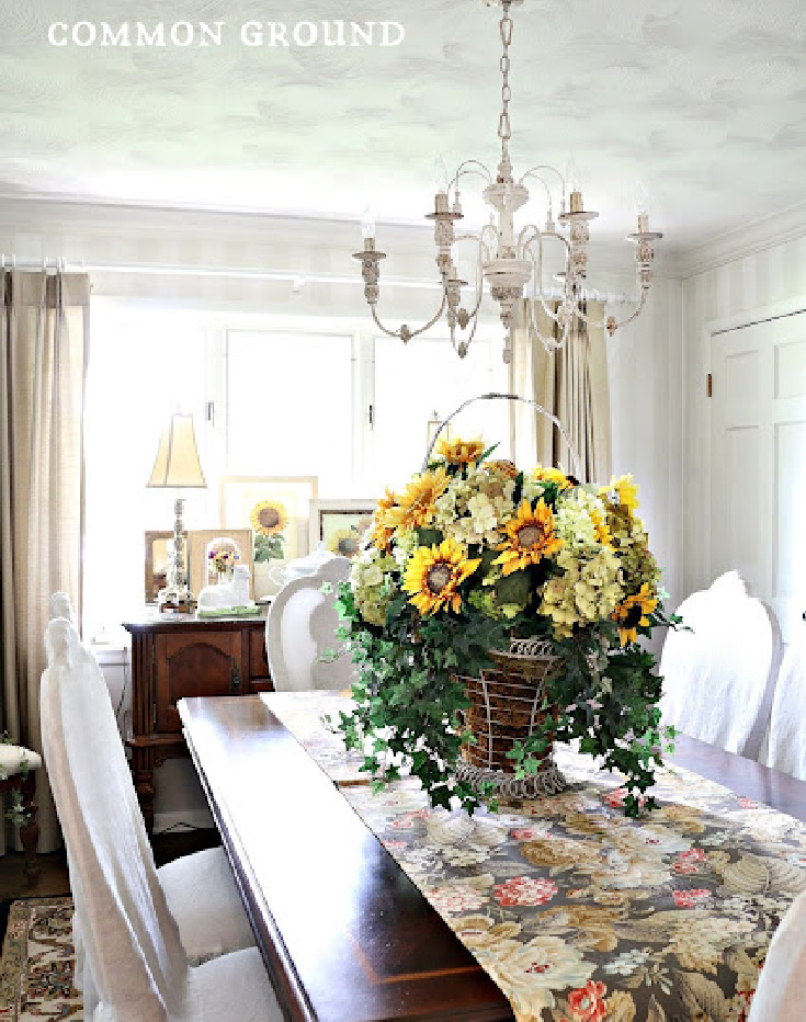 dining room table with flowers