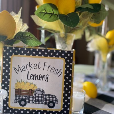 summer table with lemons