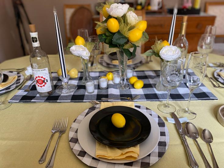 the full lemon tablescape