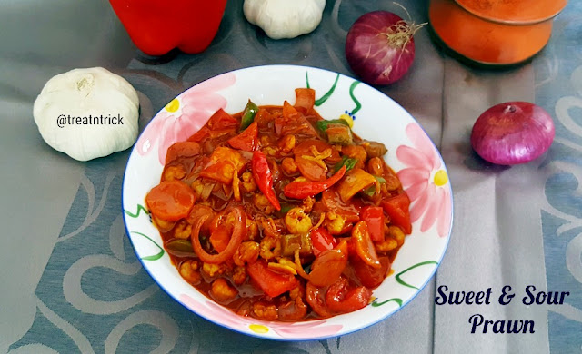 sweet and sour prawn dish in a bowl