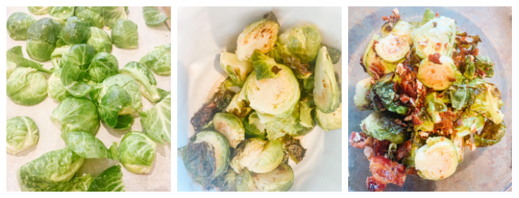 prepping the brussel sprouts