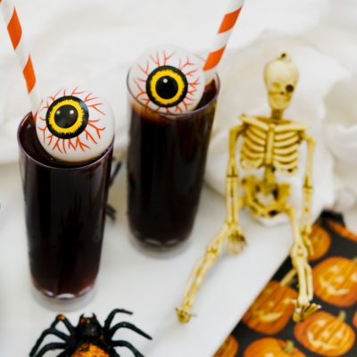 halloween shooters on a tray